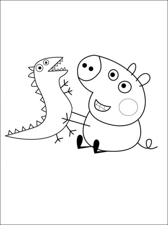 George Pig And His Toy Dinosaur Coloring Pages Peppa