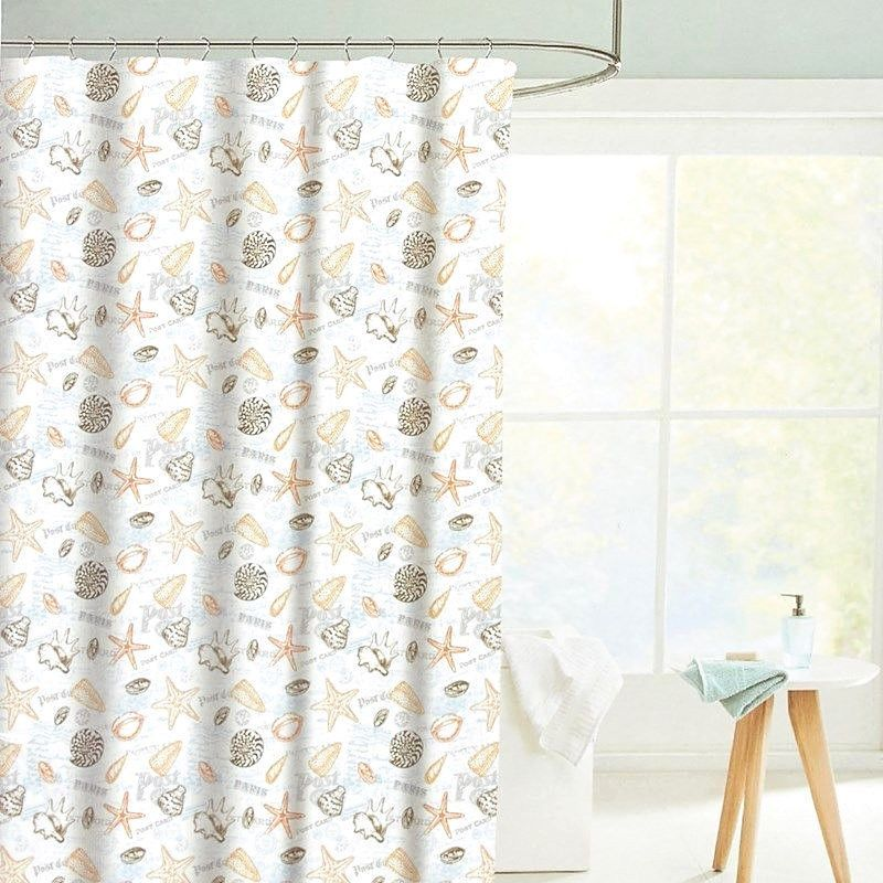 Nanette Lepore Barbados Shells Fabric Shower Curtain Set With 12