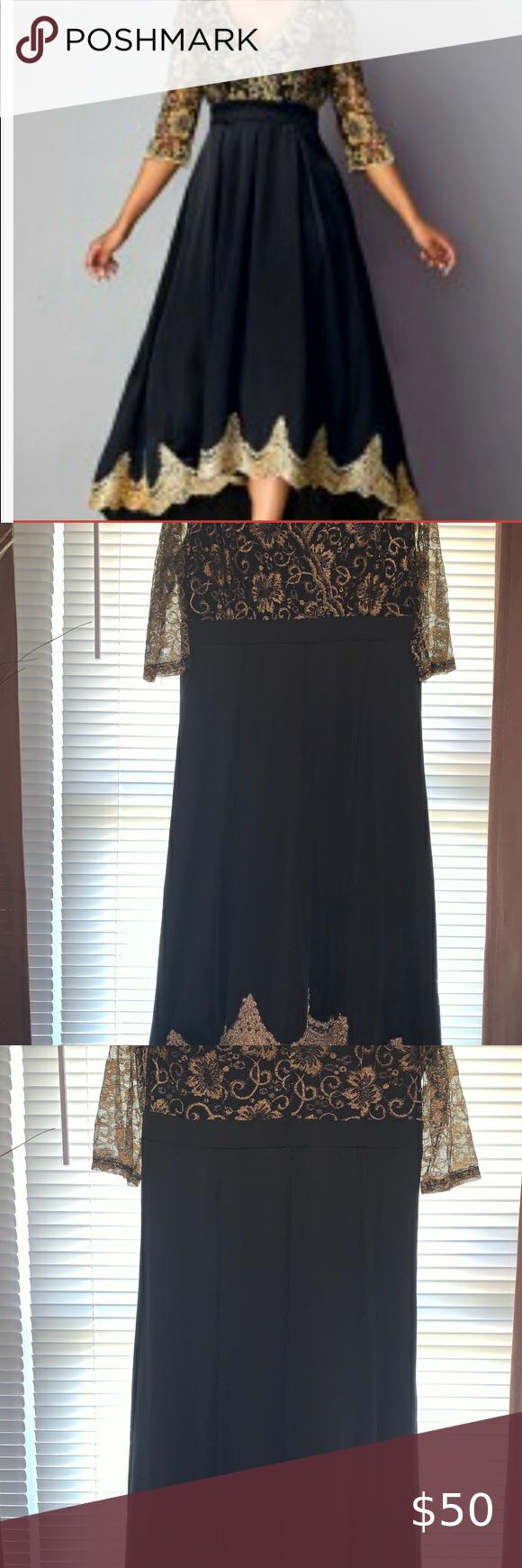 Brand New Hi Lo V Neck Lace Panel Dress Panel Dress Dresses Gold And Black Dress [ 1740 x 580 Pixel ]