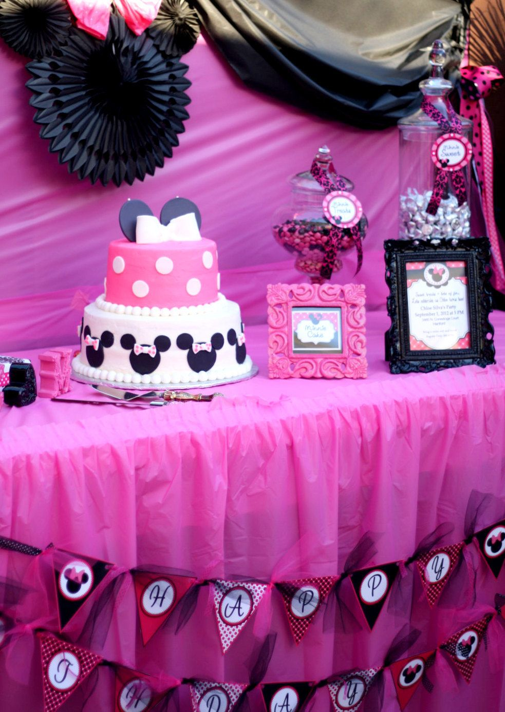 Pink And Black Minnie Mouse Decorations Minnie Mouse Inspired Party Printables Banner Black And Pink