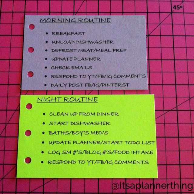 My morning and night routine checklist cards.