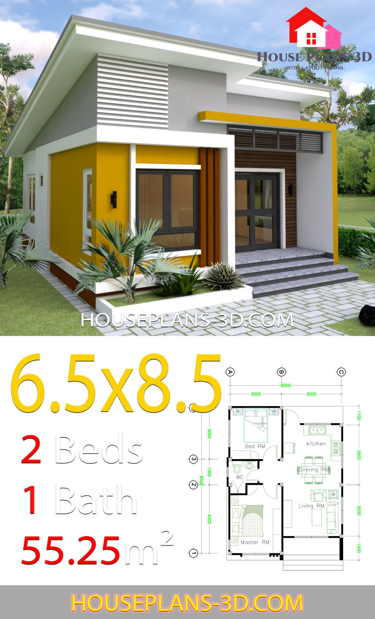Small House Design 6 5x8 5 With 2 Bedrooms House Plans 3d 2 Bedroom House Design Simple House Design Small House Design Plans
