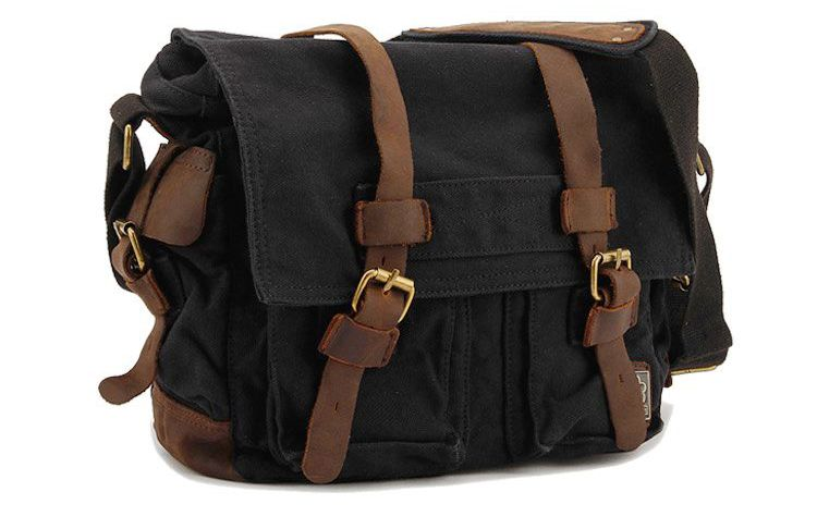 New Casual Men Women Canvas Leather School Bag Military Shoulder