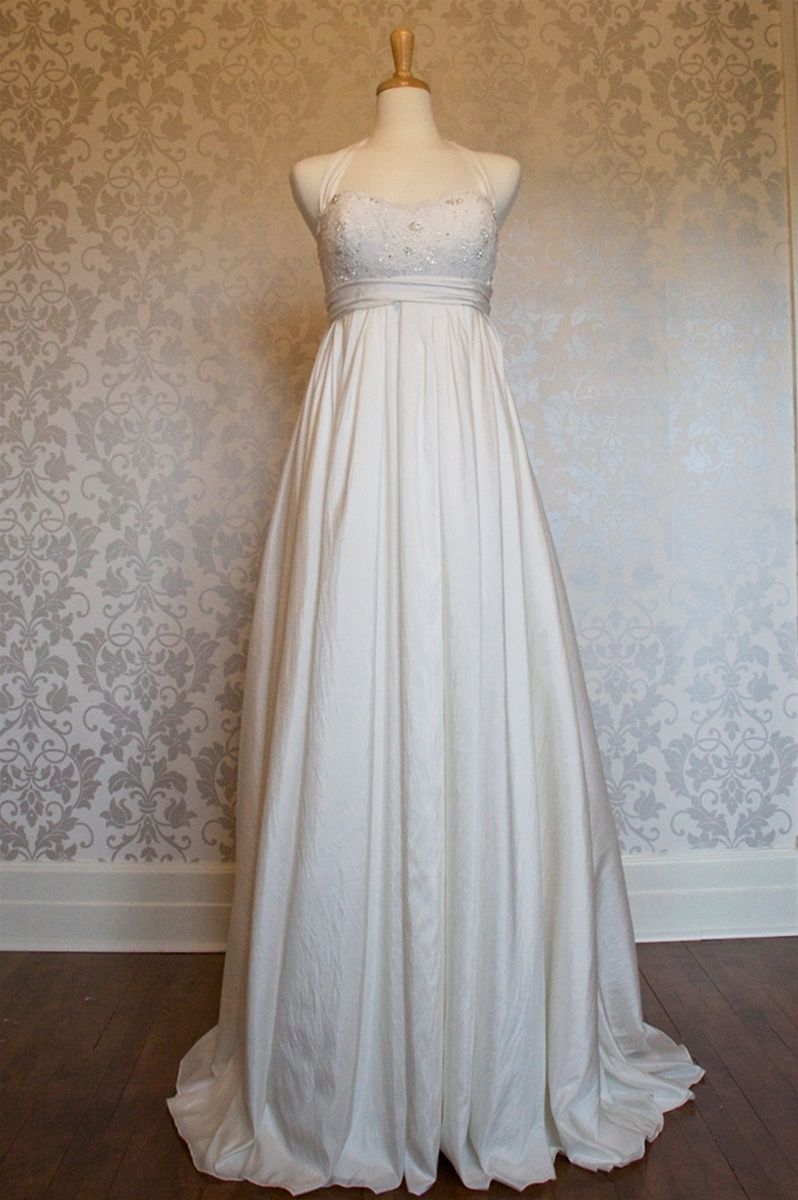 2nd hand wedding dresses  Halter neck Empire Waist Maternity Wedding Dress  depending on