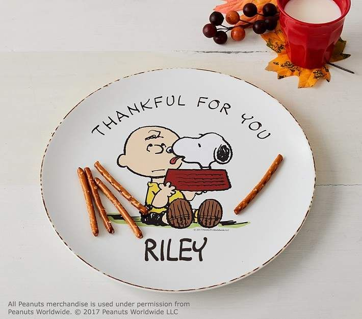 Pottery Barn Kids Peanuts Thanksgiving Personalized Plate