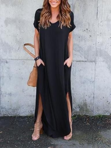 449f052df20 Solid Color V-neck Loose With Pockets Maxi Dress – oshoplive ...