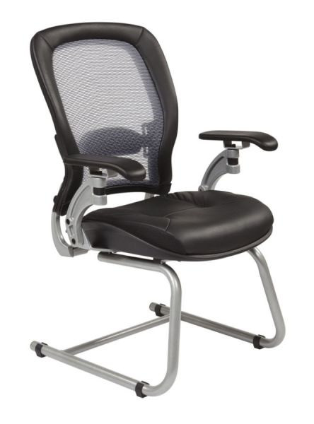 Office Star 3685 Professional AirGrid Back Visitors Chair With Platinum  Finish Accents With Cantilever Arms