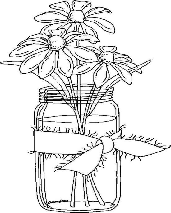 Daisies In A Jar Coloring Page Coloring Pages Flower Coloring