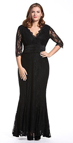 3407fc1a14cce Dilanni Women s Plus Size V Neck 2 3 Sleeves Evening Party Long Lace Dresses  - silver dresses for juniors