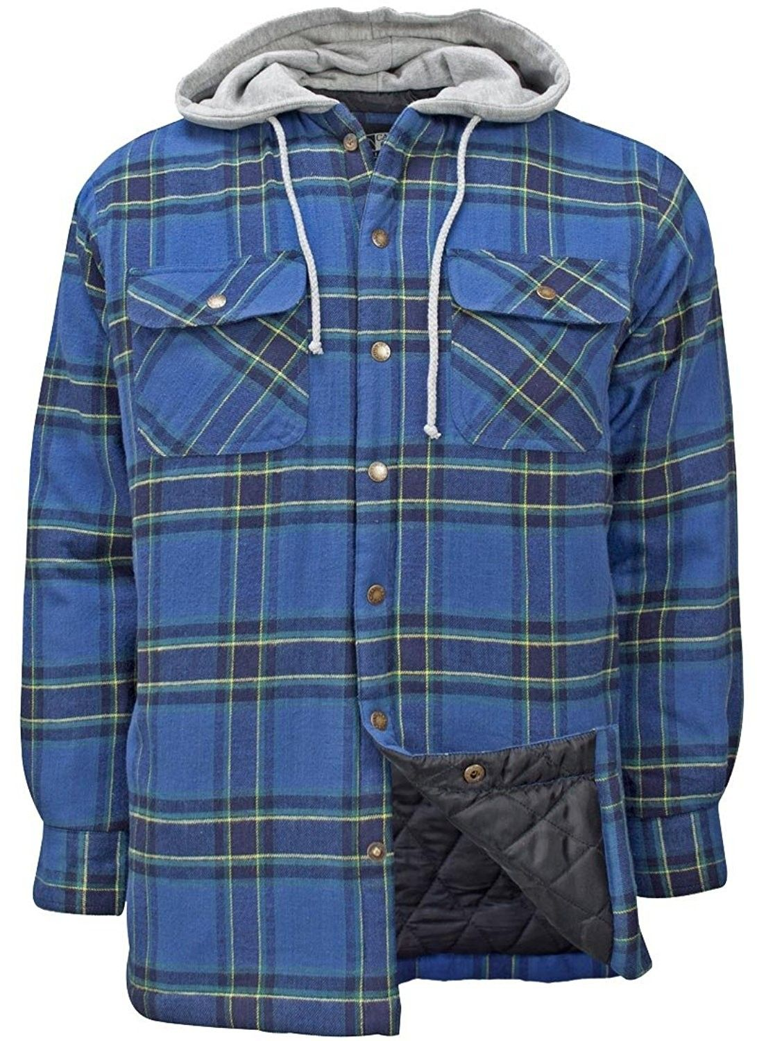 men s flannel plaid hooded snap front insulated jacket on men s insulated coveralls with hood id=12098