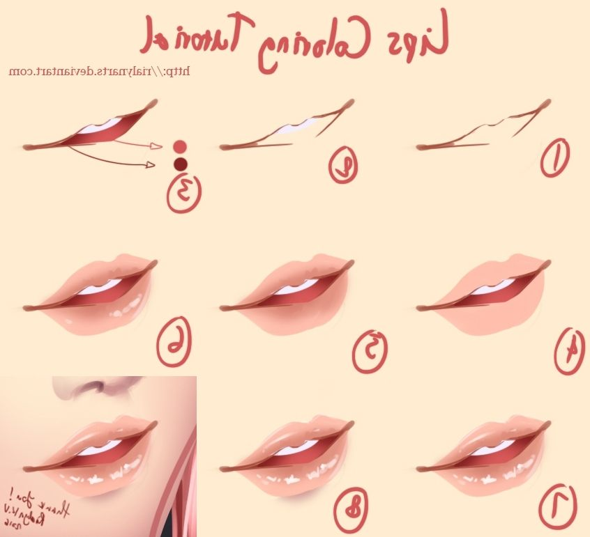 Coloring Lips Coloring Tutorial Digital Art Tutorial Anime Art Tutorial