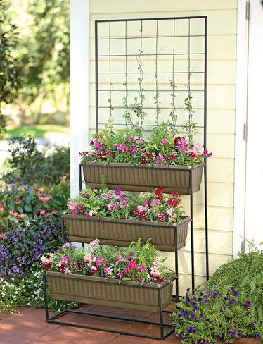 Three Tier Cascade Planter With Trellis Perfect For Small