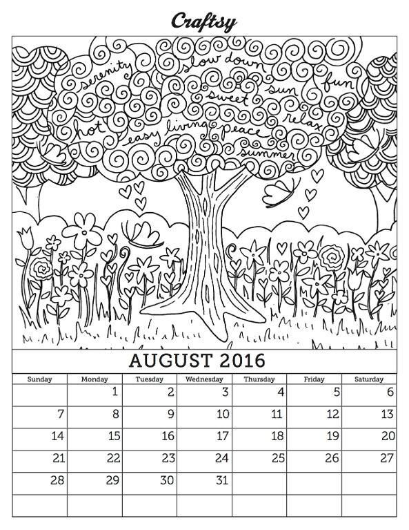 August 2016 Coloring Calendar Page Coloring Pages August