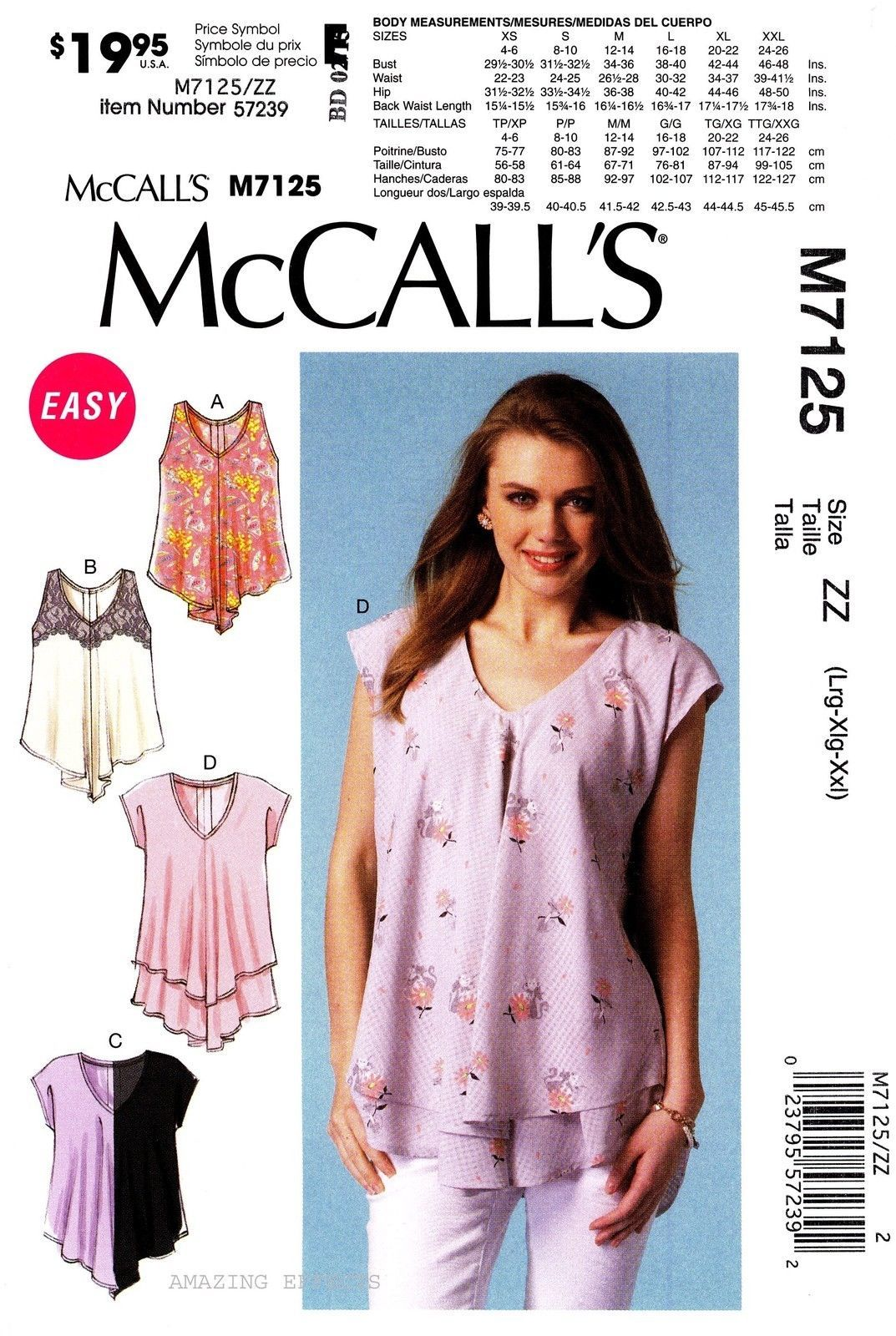 Mccall S Sewing Pattern M7125 Women S L Xxl Easy Pullover Tops