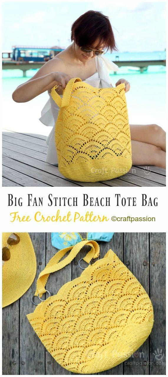 Lace Shell Stitch Beach Tote Bag Crochet Free Pattern VideoBag