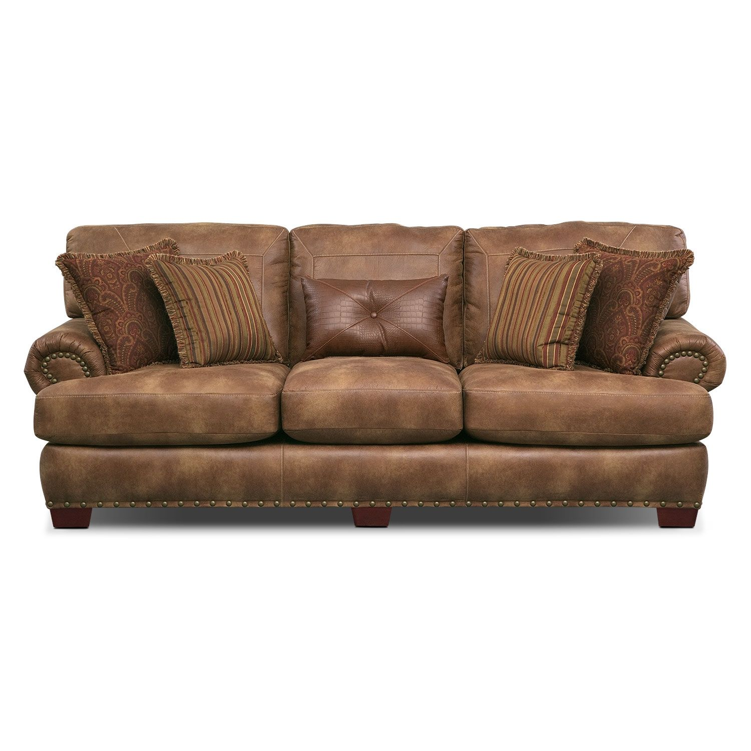 Cognac Factor Gold Burnished Nailhead Trim Along The Cognac Colored Burlington Sofa Seems Simple But It S Just T Faux Leather Sofa Western Furniture Furniture