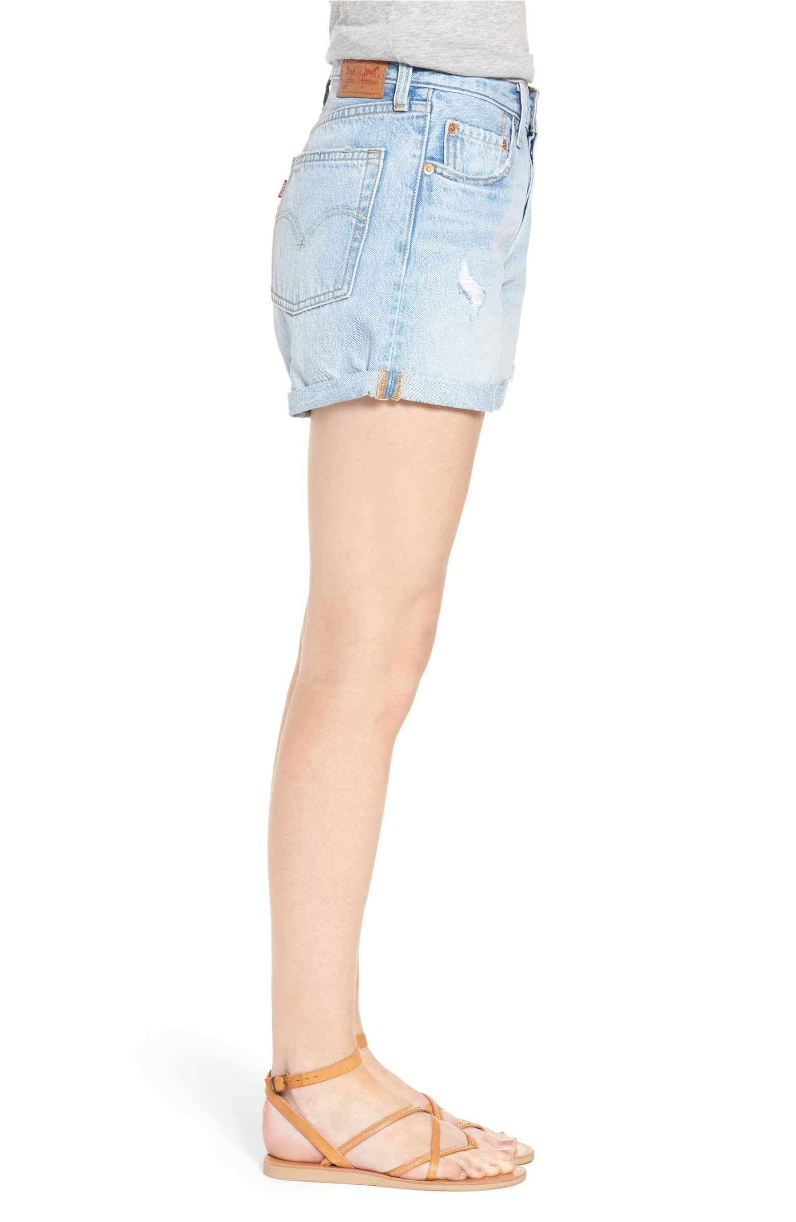 832d0204 Main Image - Levi's® 501® Cuffed Long Denim Shorts (North Beach Blues)