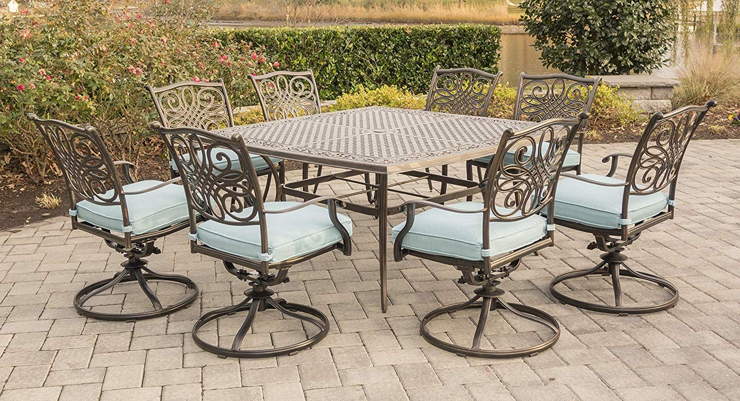 Campbell 9 Piece Sling Dining Set Patio Outdoor Dining Room Agio Patio Furniture