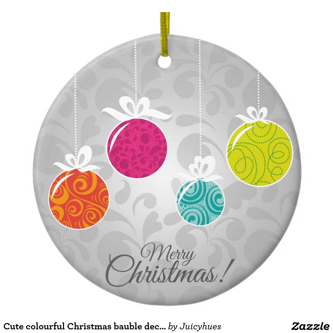 Cute colourful Christmas bauble decorations Double-Sided Ceramic Round Christmas Ornament