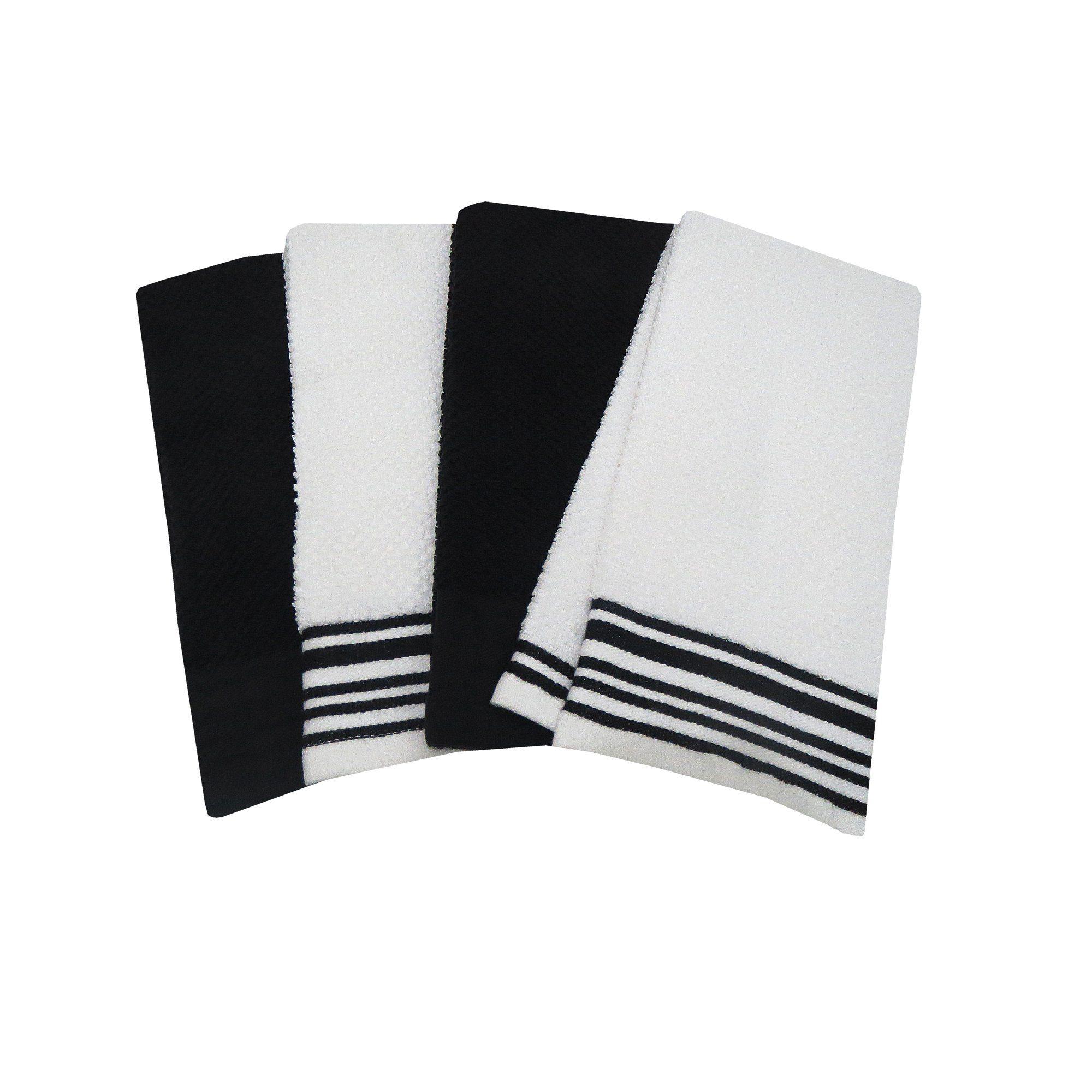 Mainstays 4 Pack Kitchen Towel Set Black Walmart Com In 2021 Towel Set Kitchen Towels White Kitchen Towels