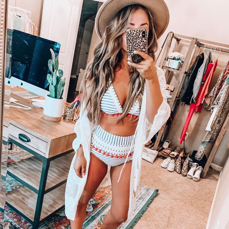 Cute Mesh Pom Pom High Waisted Triangle Bikini Swimsuit Honeymoon Outfits Bathing Suits For Teens High Waisted Bathing Suits