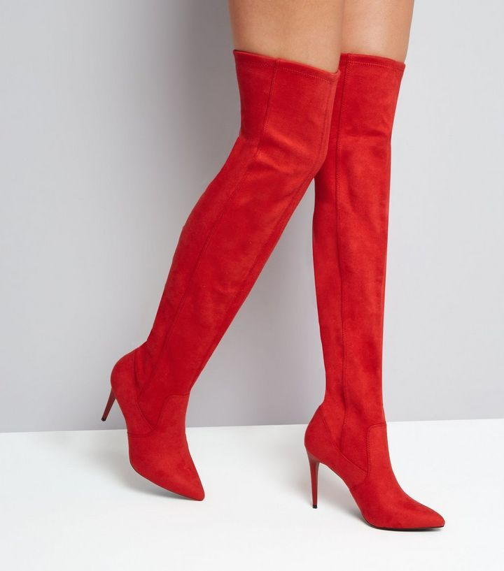 3ceb0b85998 Red Suedette Stiletto Over The Knee Boots
