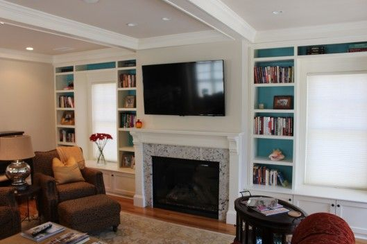 Fireplace Mantle And Window Seat Built Ins Living Room With