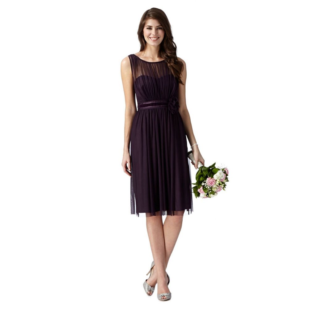 Elegant simple purple bridesmaid dresses with sashes o neck purple