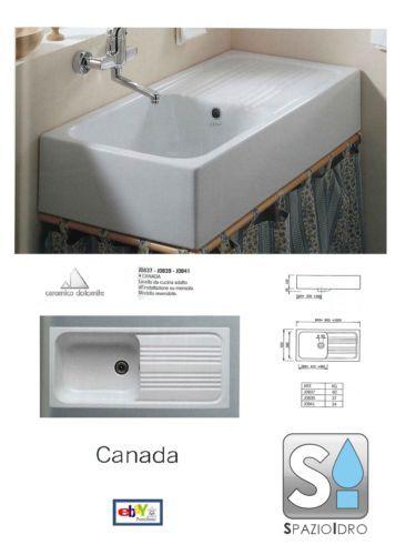 Lavabi In Ceramica Dolomite.Lavello Cucina Ceramica Dolomite Canada 90x45 Ebay