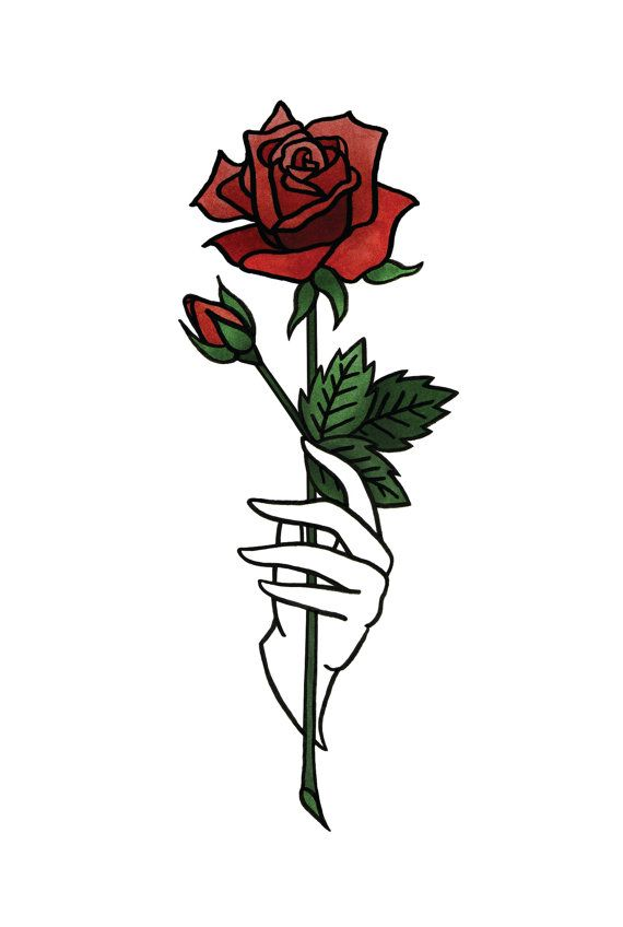 Rose 4x6 print in blue or red by bunnymiele on etsy art for Hand holding a rose drawing