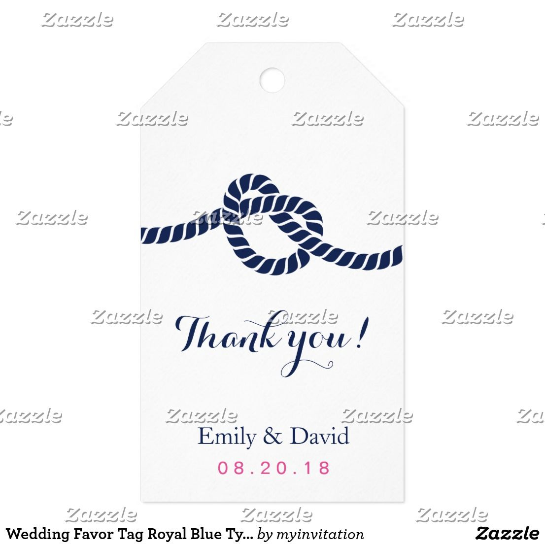 Wedding Favor Tag Royal Blue Tying the Knot Royal Blue Tying the ...
