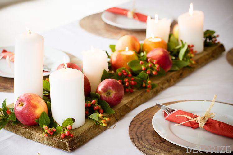 Herbstliche Tischdeko mit Äpfeln und Kerzen #tischdekoherbstesstisch