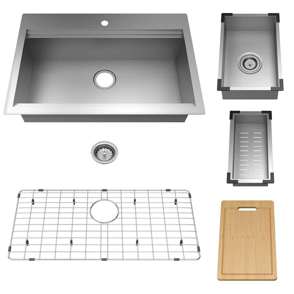 American Standard Chive Workstation Sink With Accessories With