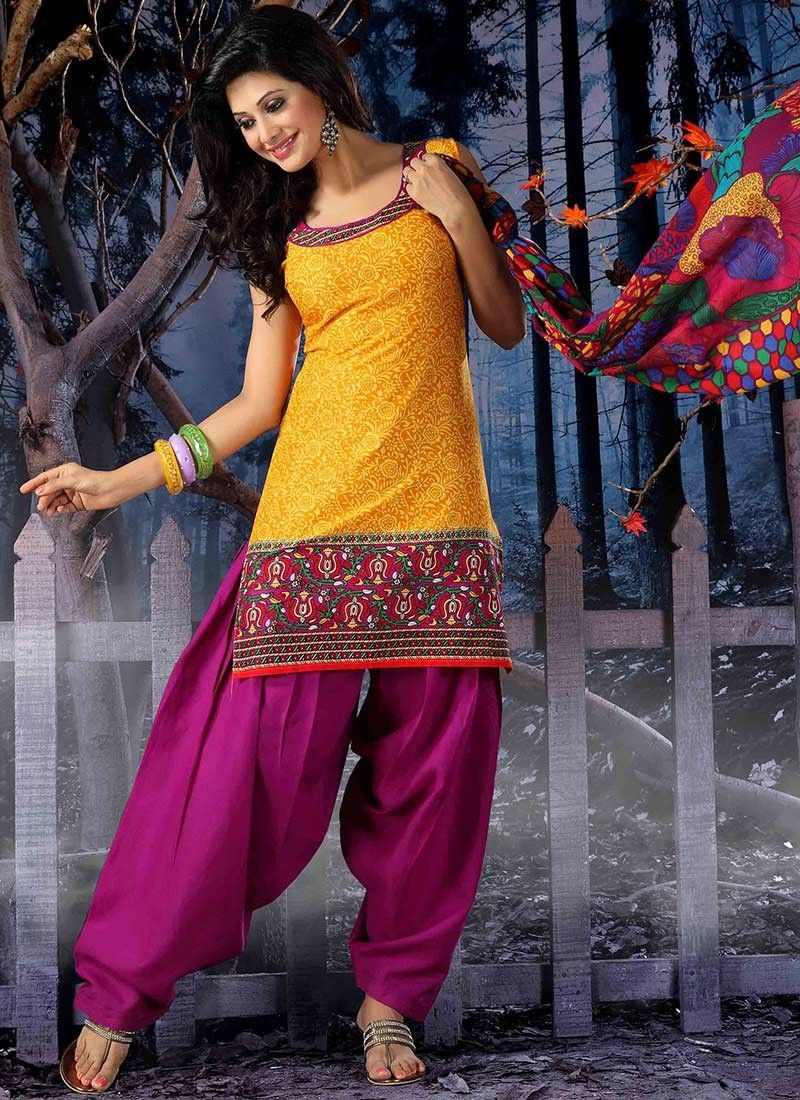 c0a6f6588a0 yellow cotton semi patiala suit