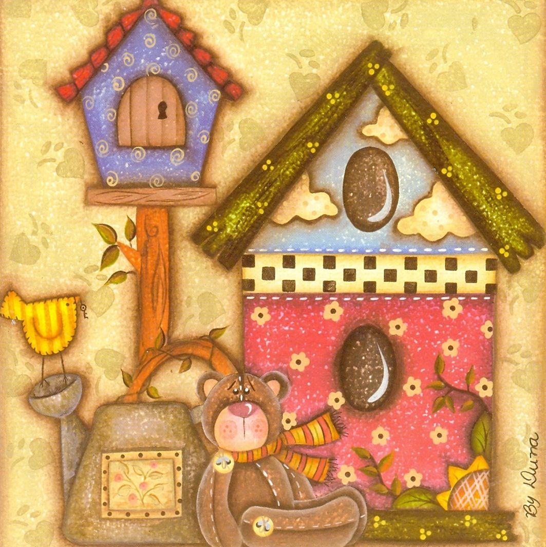 Desenhos para pinturas e decoupage casinha de passarinho - Pintura para decoupage ...
