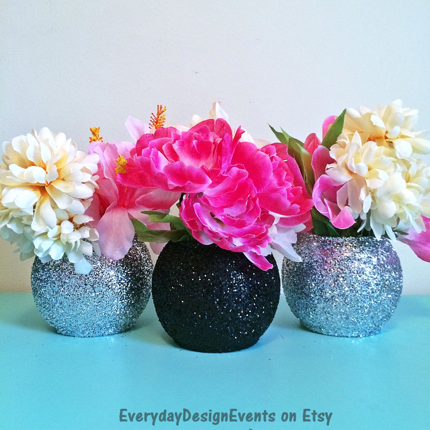 Black and silver vase set bubble baby shower vases