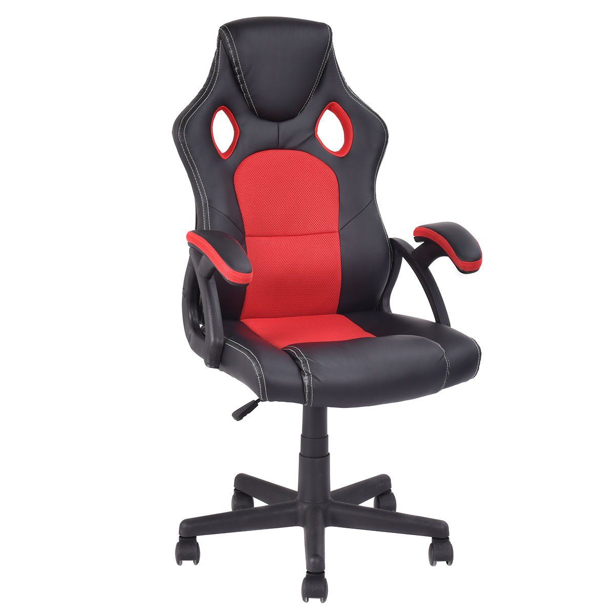 Giantex PU Leather Executive Bucket Seat Racing Style Office Chair Computer  Desk Task (Red+