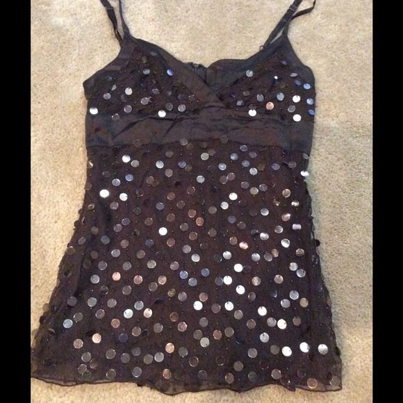 Sexy plunge bling top VS xxs top with flashy bling brown, sequins are a little faded in some areas but not noticeable Victoria's Secret Tops