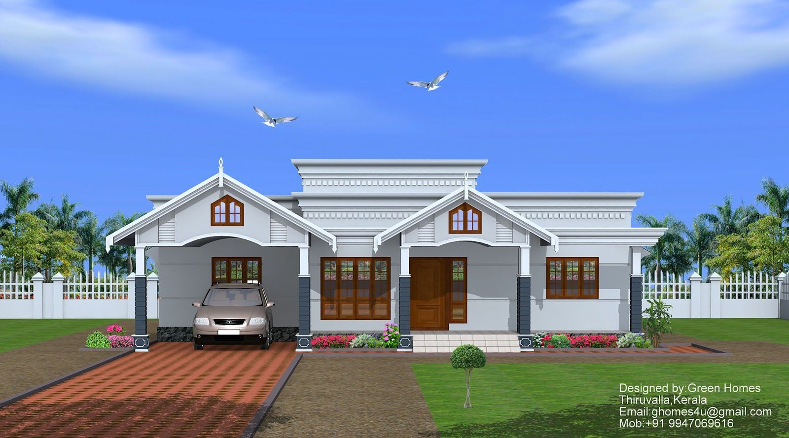 Single Story Homes  Sqfeet Single Floor Home Designed By - Green home designs floor plans