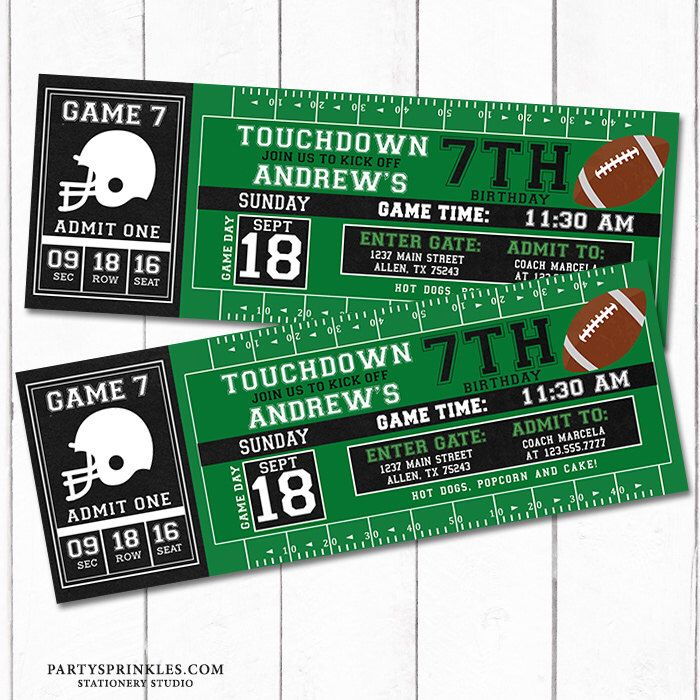 Custom Football Printable Birthday Invitation, Football Ticket - printable ticket invitations