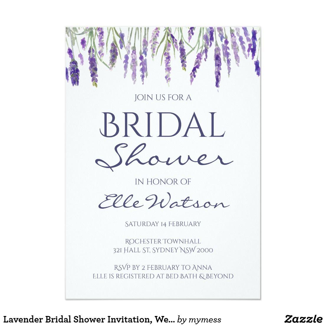 Lavender Bridal Shower Invitation, Wedding Card Lavender Bridal ...