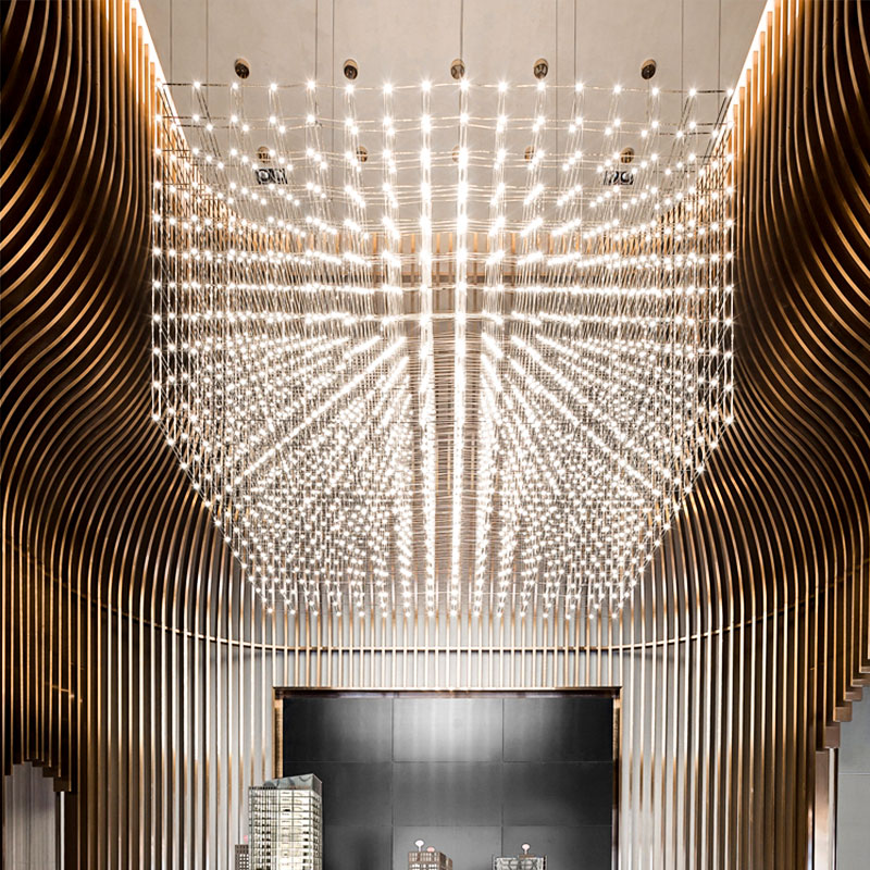 Led Light Cube Chandelier Hotel Project Lobby Customized Large