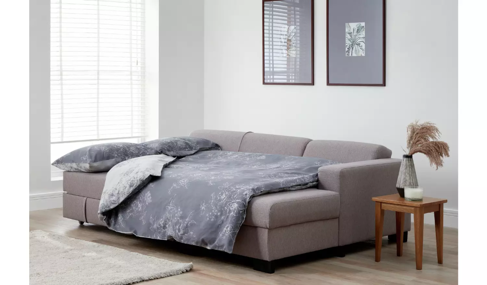 Buy Argos Home Ava Corner Fabric Sofa Bed Light Grey Sofa Beds In 2020 Bed Lights Sofa Bed Fabric Sofa
