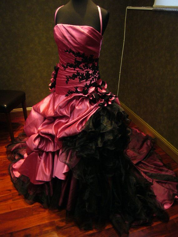 Pink And Black Wedding Dress Gothic Bridal Gown Custom Made To
