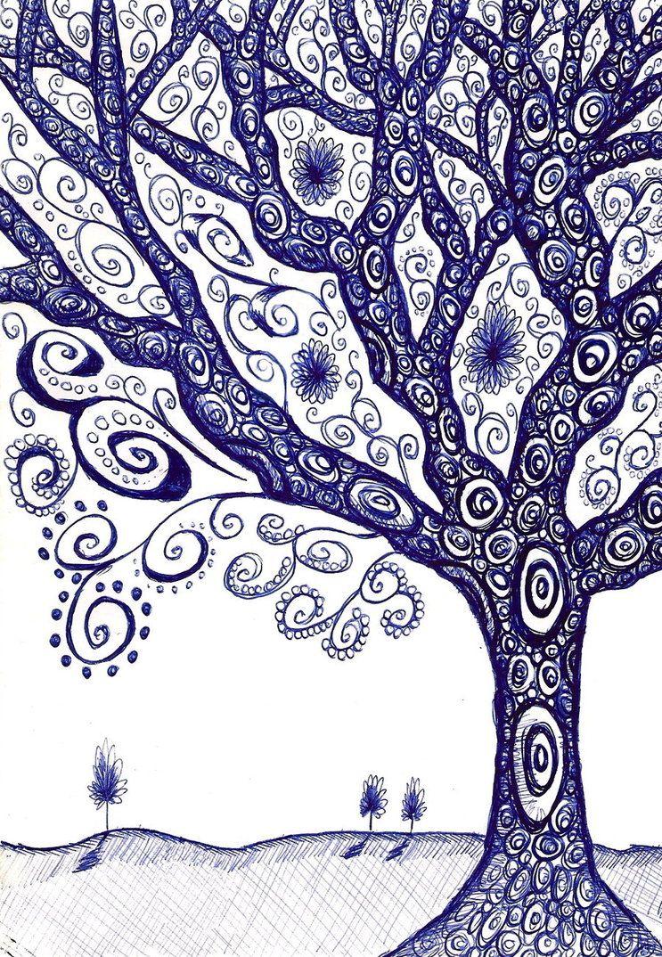 Tree doodle in biro by Stu-art-0o0