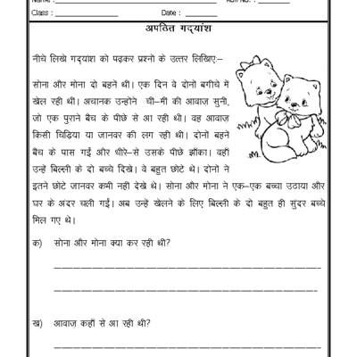 Hindi Worksheet - Unseen Passage-05   hindi worksheets   Pinterest ...