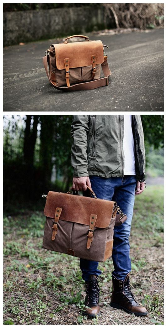 Handmade Canvas Leather Bag Briefcase Messenger Bag Handbag Shoulder Bag  Laptop Bag --------------------------------- - 16oz waxed canvas - Cotton  lining ... c118bf5a12836