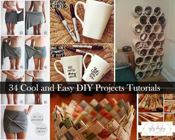 34 Insanely Cool and Easy DIY Project Tutorials34 Insanely Cool and Easy DIY Project Tutorials   Easy diy  . Cool Easy Diy Art Projects. Home Design Ideas