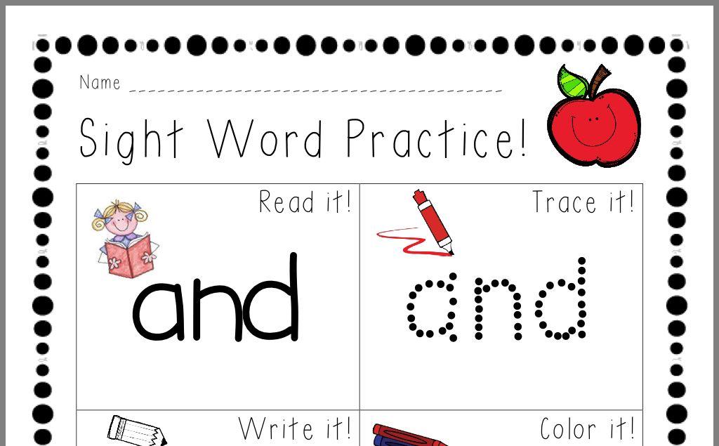 Pin by Pam Wurtzbacher on Pre k Word practice, Sight