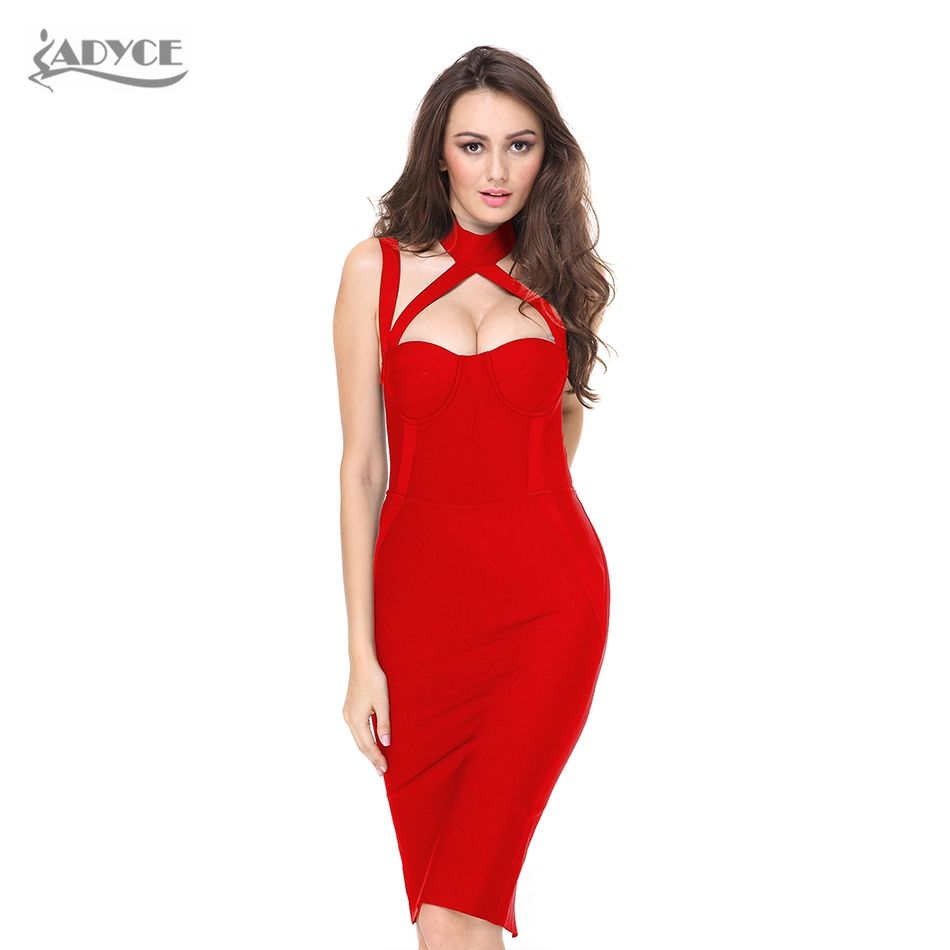Woman Bodycon Bandage Dress Summer Black Halter Straps Backless Hollow Out  Dress Hot Elegant Celebrity Party 40e9bc2ca